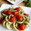 Pesto Zucchini Noodles with Burst Tomatoes
