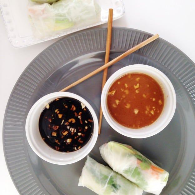 Vegetarian Spring Rolls with Dipping Sauces ...
