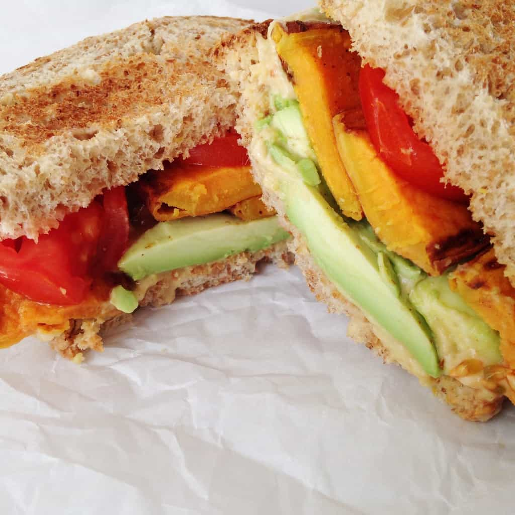 Roasted Sweet Potato & Avocado Sandwich - pumpkinandpeanutbutter